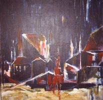 Abstrakt, Malen, Acrylmalerei, Häuser