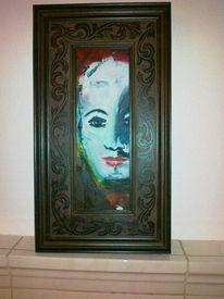Karminrot, Bunt, Gesicht, Ölmalerei