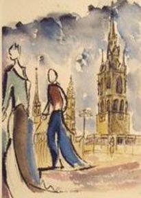Halle, Menschen, Turm, Landschaft
