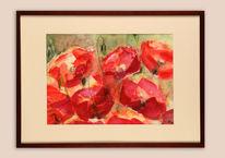 Grün, Mohnblüten, Rot, Intensiv