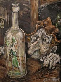 Verlangen, Malerei, Flasche, Fee
