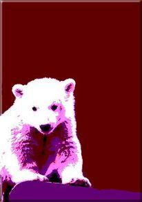 Acrylmalerei, Popart, Tiere, Eisbär