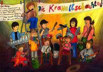 Kinder, Konzert, Auftritt, Buntstiftzeichnung