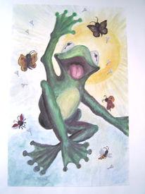 Wasserfarbe, Frosch, Malerei, Tiere