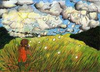 Suchbild, Wolken, Kind, Buntstiftzeichnung