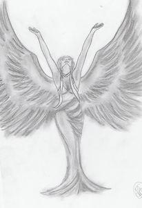 Frau, Engel, Flügel, Zeichnungen