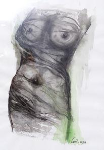 Kohlezeichnung, Aquarellmalerei, Malerei, Akt