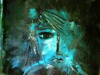 Figurativ, Blaues gesicht, Abstrakt, Erleuchtung