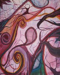 Malerei, Abstrakt, Mitternacht, Garten