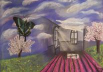 Schein, Landschaft, Flieder, Schmetterling
