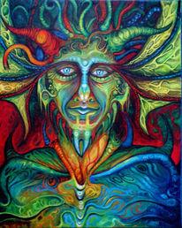 Gesicht, Augen, Teufel, Horn