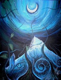 Tunnel, Blau, Schnecke, Mond