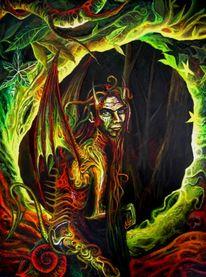 Schlange, Höhle, Glühen, Dämon