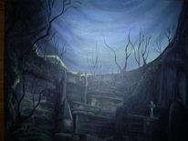 Friedhof nacht, Malerei, Surreal, Friedhof