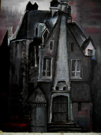 Haus, Villa, Nacht, Gespenst