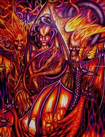Gesicht, Schlange, Rot, Dämon