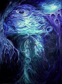 Blau, Nacht, Mond, Augen