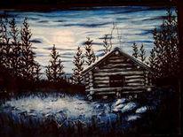Dunkel, Schnee, Hütte, Norwegen