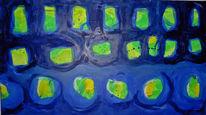 Malen, Acrylmalerei, Blau, Fenster