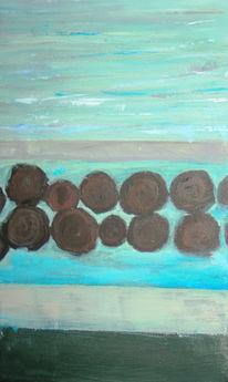 Steg, Acrylmalerei, See, Malerei
