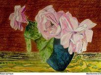 Rose, Blumen, Mischtechnik, Allaprima