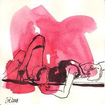 Zeichnung, Frau, Burlesque, Rot