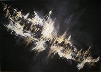 Schwarz weiß, Gold, Stadt, Nacht