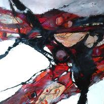 Abstrakt, Rot schwarz, Landschaft, Malerei