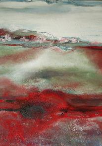 Dorf, Haus, Landschaft, Rot