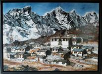 Berge, Nepal, Landschaft, Malerei
