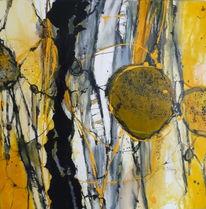 Abstrakt, Dynamik, Malerei, Gelb