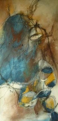Zeitgenössisch, Gelb, Abstrakt, Braun