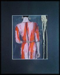 Frau, Gold, Rot schwarz, Kleid