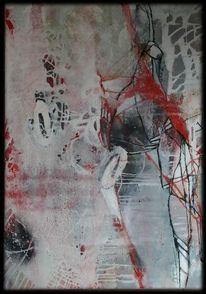 Rot, Weiß, Linie, Abstrakte malerei