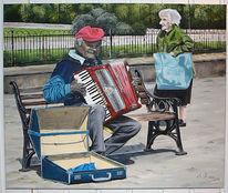 Musik, Ölmalerei, Natur, Landschaft
