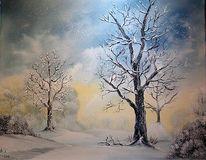 Wolken, Busch, Landschaft, Schnee