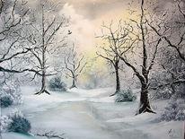 Gemälde, Natur, Landschaft, Haus