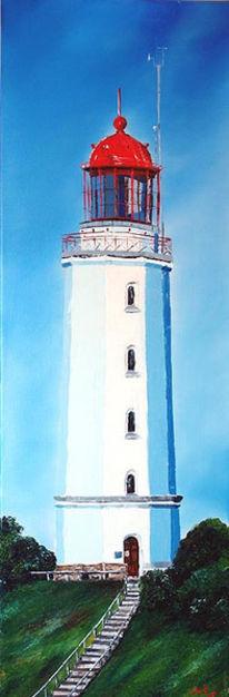 Leuchtturm, Hiddensee, Meer, Wolken