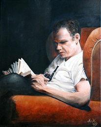 Rauchen, Lesen, Sessel, Buch
