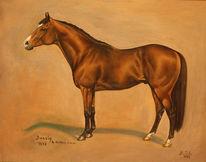 Ölmalerei, Pferde, Pferdeportrait, Pferderennen