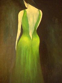 Expressionismus, Grün, Frau, Malerei