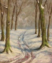 Wald, Winter, Schnee, Malerei