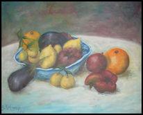 Früchte, Tisch, Impressionismus, Ölmalerei