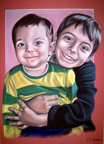Portrait, Lachen, Streifen, Kinder