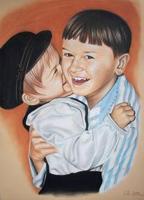 Lachen, Kinder, Streifen, Portrait