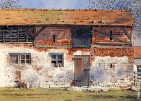 Aquarellmalerei, Gebäude, Landschaft, Malerei