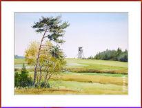 Ansitz, Sommer, Landschaft, Aquarell