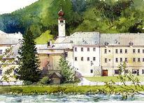 Aquarellmalerei, Kirche, Landschaft, Stadt