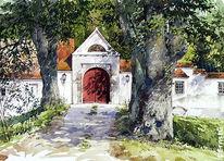 Aquarellmalerei, Landschaft, Bauernhof, Gebäude