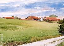 Landschaft, Humersberg, Pferde, Aquarell